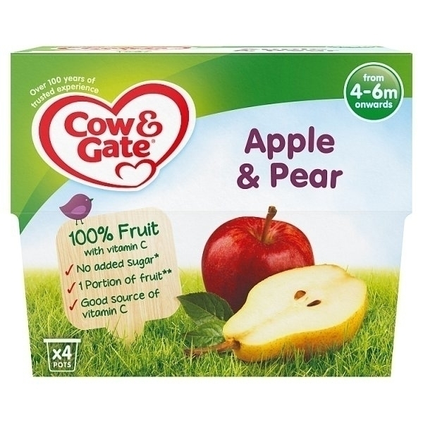 COW&GATE FRUIT CUP APPLE & PEAR 4M