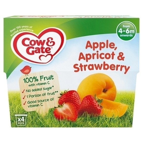 COW&GATE FRUIT CUP APPLE & APRICOT & STRAWBERRY 4M