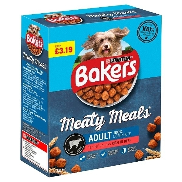 BAKERS MEATY MEALS ADULT BEEF PM£3.19