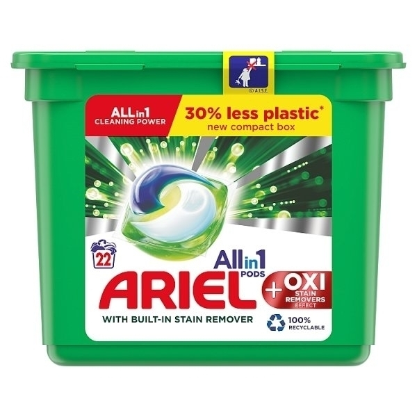 ARIEL AND OXI STAIN REMOVER ALL-IN-1 PODS 22S