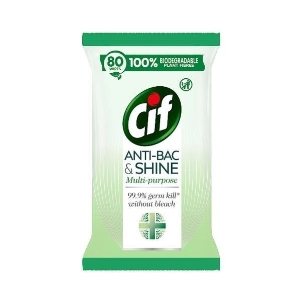 CIF BIODEGRADABLE ANTI BACTERIAL WIPES 80S